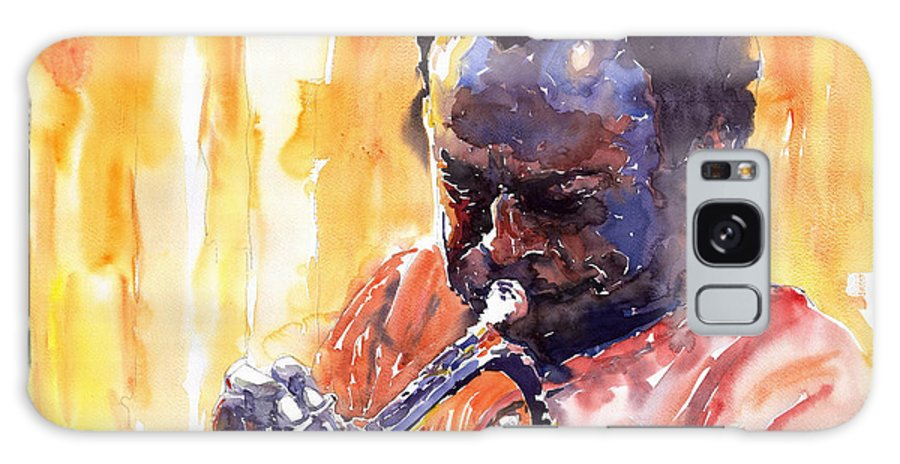 Jazz Miles Davis Music Watercolor Watercolour Figurativ Portret Trumpeter Galaxy Case featuring the painting Jazz Miles Davis 8 by Yuriy Shevchuk