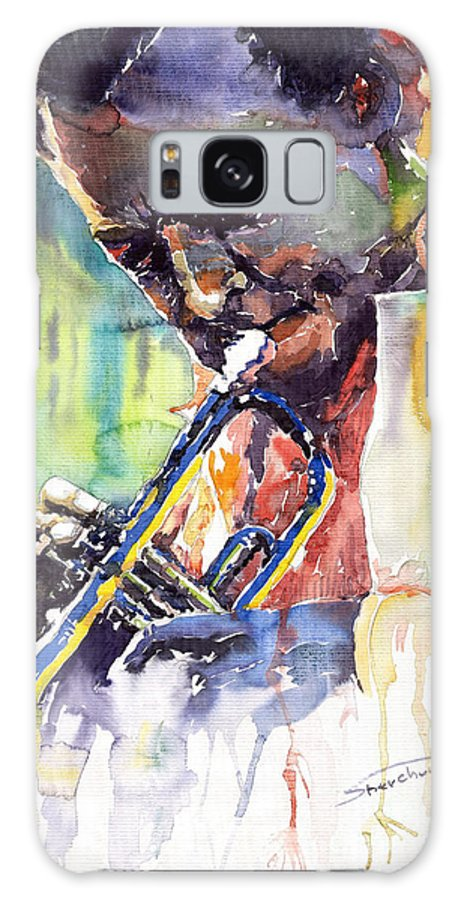 Jazz Miles Davis Music Musiciant Trumpeter Portret Galaxy S8 Case featuring the painting Jazz Miles Davis 9 Blue by Yuriy Shevchuk