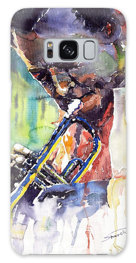 Jazz Miles Davis Music Musiciant Trumpeter Portret Galaxy Case featuring the painting Jazz Miles Davis 9 Blue by Yuriy Shevchuk