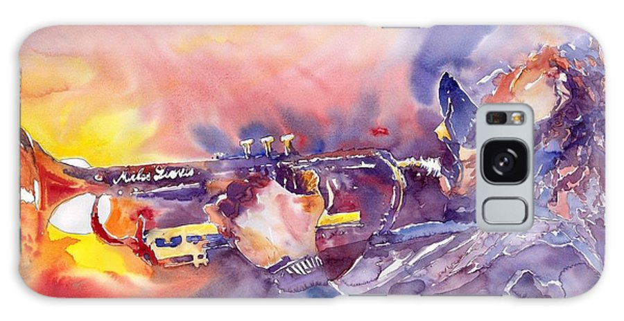 Jazz Watercolor Miles Davis Music Musician Trumpeter Figurative Watercolour Galaxy Case featuring the painting Jazz Miles Davis Electric 1 by Yuriy Shevchuk