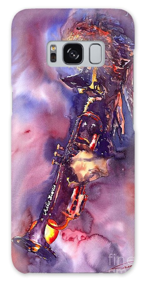 Davis Figurative Jazz Miles Music Musiciant Trumpeter Watercolor Watercolour Galaxy S8 Case featuring the painting Jazz Miles Davis Electric 3 by Yuriy Shevchuk