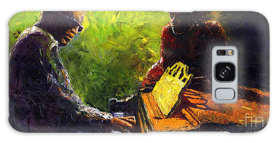 Jazz Galaxy Case featuring the painting Jazz Ray Duet by Yuriy Shevchuk