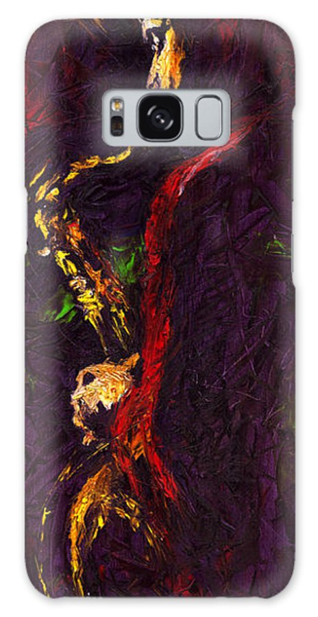 Jazz Galaxy Case featuring the painting Jazz Red Saxophonist by Yuriy Shevchuk