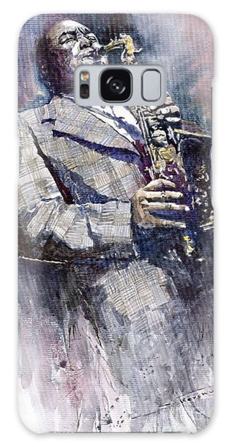Watercolor Galaxy Case featuring the painting Jazz Saxophonist Charlie Parker by Yuriy Shevchuk