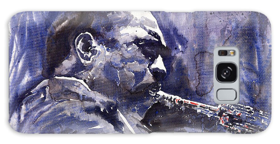 Jazz Galaxy Case featuring the painting Jazz Saxophonist John Coltrane 01 by Yuriy Shevchuk