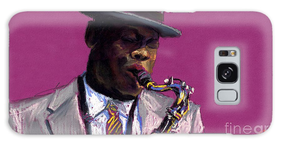Jazz Galaxy S8 Case featuring the painting Jazz Saxophonist by Yuriy Shevchuk