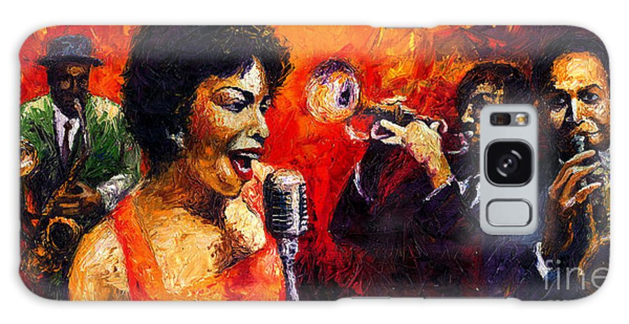 Jazz.song.trumpeter Galaxy S8 Case featuring the painting Jazz Song by Yuriy Shevchuk