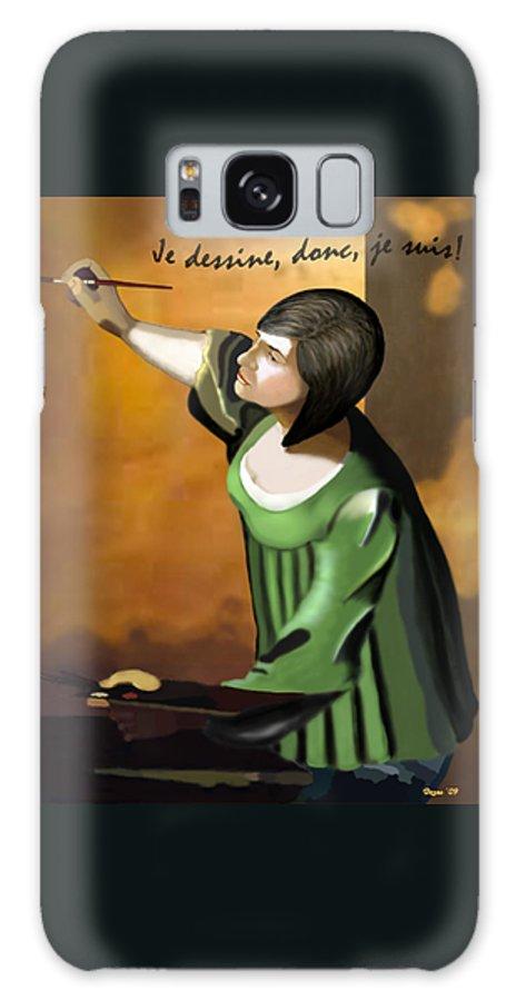 Illustration Galaxy S8 Case featuring the digital art Je Dessine Donc Je Suis by Lois Boyce