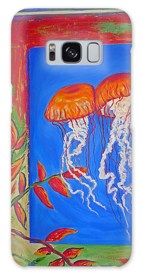 Jellyfish Galaxy S8 Case featuring the painting Jellyfish With Flowers by Ericka Herazo