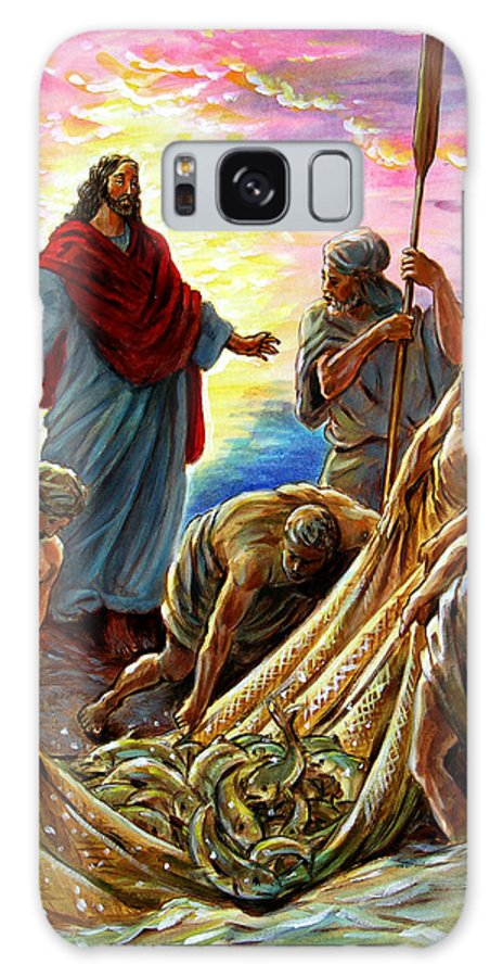 Jesus Galaxy S8 Case featuring the painting Jesus Appears To The Fishermen by John Lautermilch