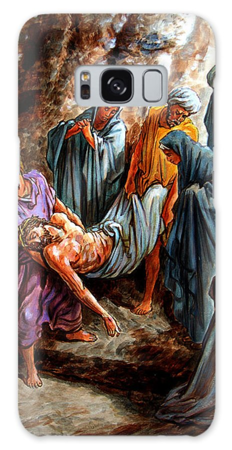 Jesus Burial Galaxy S8 Case featuring the painting Jesus Burial by John Lautermilch