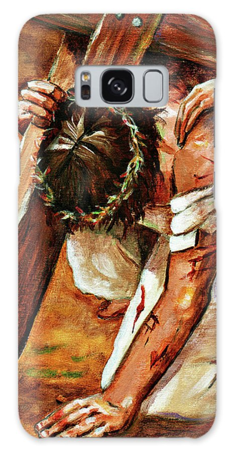 Jesus Galaxy S8 Case featuring the painting Jesus Falls by Dorothy Riley