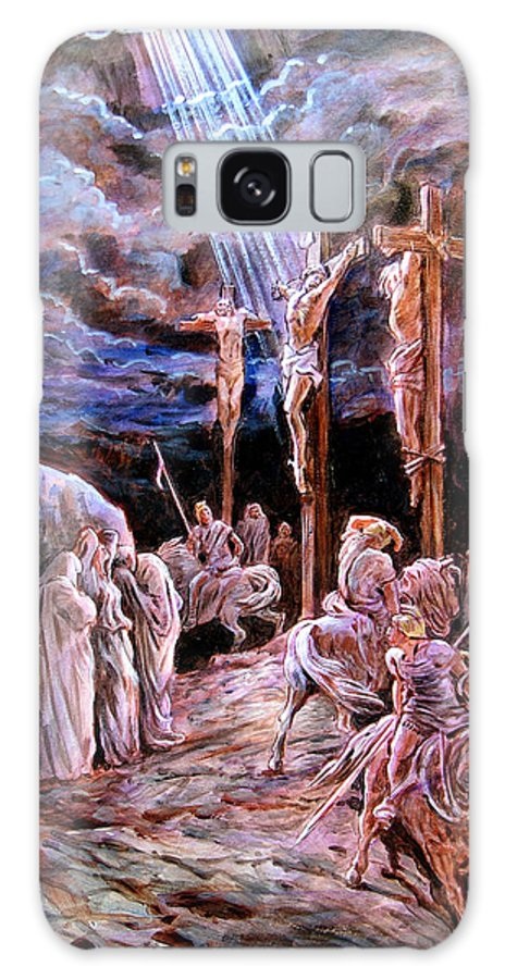 Jesus Galaxy Case featuring the painting Jesus On The Cross by John Lautermilch