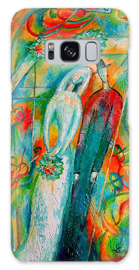 Bride Ceremony Color Groom Illustration Jewish Matrimony Medium Group Of People Pole Reception Religious Setup Tent Union Unrecognizable Wedding Whitemusicians Chuppa Decorative Painting Abstract Art Galaxy S8 Case featuring the painting Jewish Wedding by Leon Zernitsky