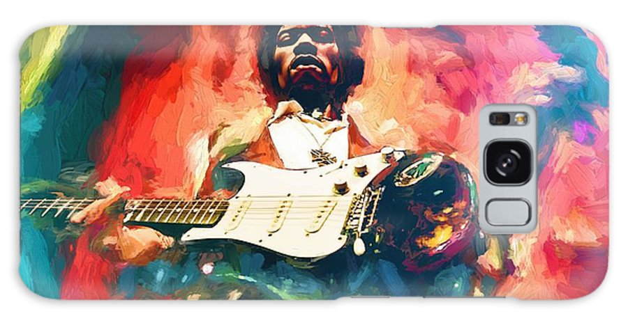 Jimi Hendrix # Hendrix # Pop Star # Rock Star # Music Legend # # Famous People Portraits # Guitar # Guitar Rock # Fender Stratocaster # Psychedelic Music # Woodstock # Voodoo Child # Rock And Roll # Jimi Hendrix Painting # Galaxy S8 Case featuring the painting Jimi Hendrix by Louis Ferreira