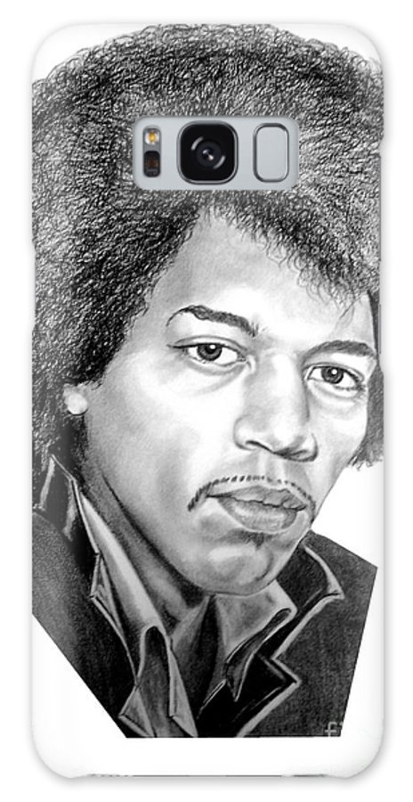 Jimmi Hendrix Galaxy Case featuring the drawing Jimmi Hendrix By Murphy Art. Elliott by Murphy Elliott