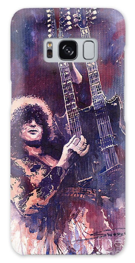 Watercolour Galaxy S8 Case featuring the painting Jimmy Page by Yuriy Shevchuk
