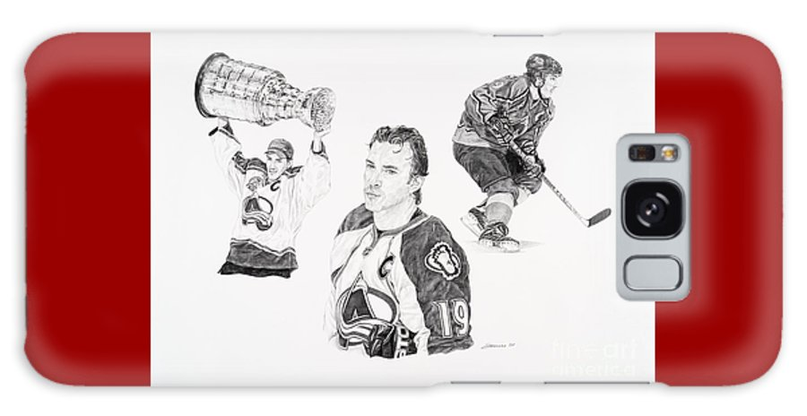 Hockey Galaxy Case featuring the drawing Joe Sakic by Shawn Stallings