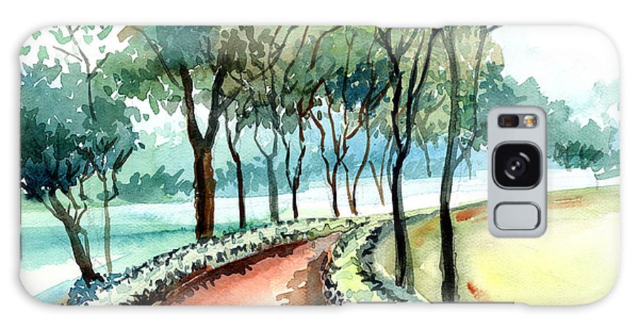 Landscape Galaxy Case featuring the painting Jogging Track by Anil Nene