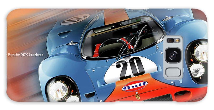 John Wyer's Gulf Porsche 917 Galaxy Case featuring the digital art John Wyer's Gulf Porsche 917 by Alain Jamar