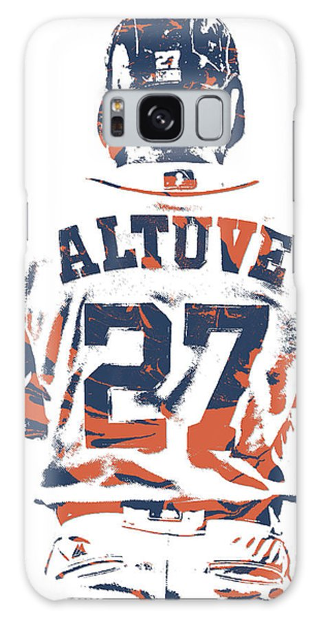 Jose Altuve Galaxy Case featuring the mixed media Jose Altuve Houston Astros Pixel Art 10 by Joe Hamilton