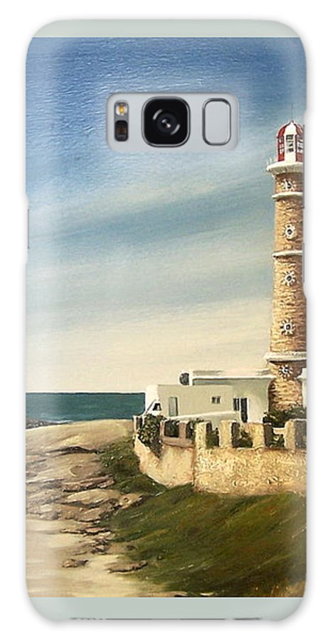 Landscape Seascape Lighthouse Uruguay Beach Sea Water Galaxy S8 Case featuring the painting Jose Ignacio Lighthouse Evening by Natalia Tejera