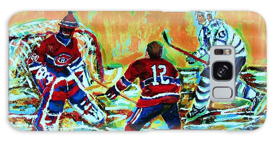 Hockey Canvas Prints Galaxy S8 Case featuring the painting Jose Theodore The Goalkeeper by Carole Spandau