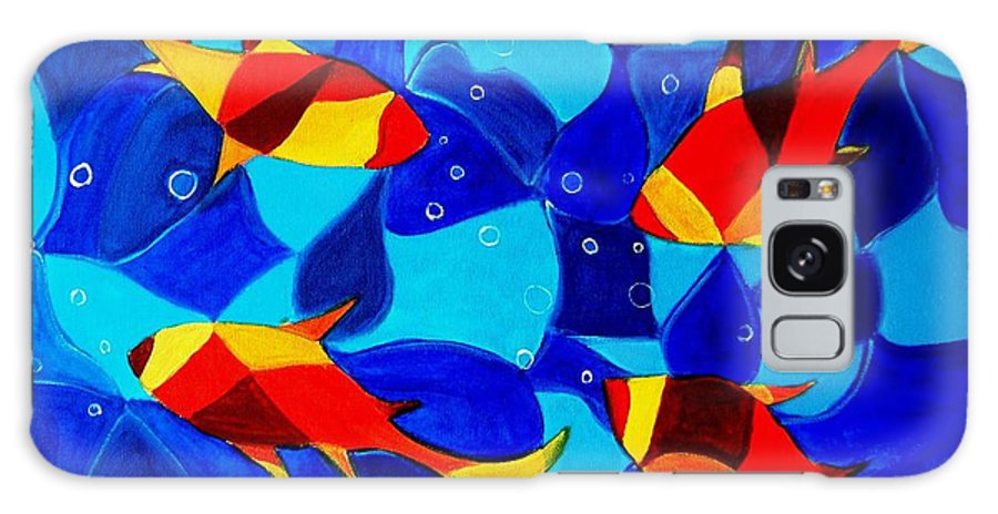 Abstract.acrylic.fish.bubbles.art.painting.modern.contemporary.popblue Red Bubbles Yellow Landscape Galaxy Case featuring the painting Joy Fish Abstract by Manjiri Kanvinde