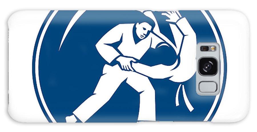 Judo Galaxy S8 Case featuring the digital art Judo Combatants Throw Circle Icon by Aloysius Patrimonio