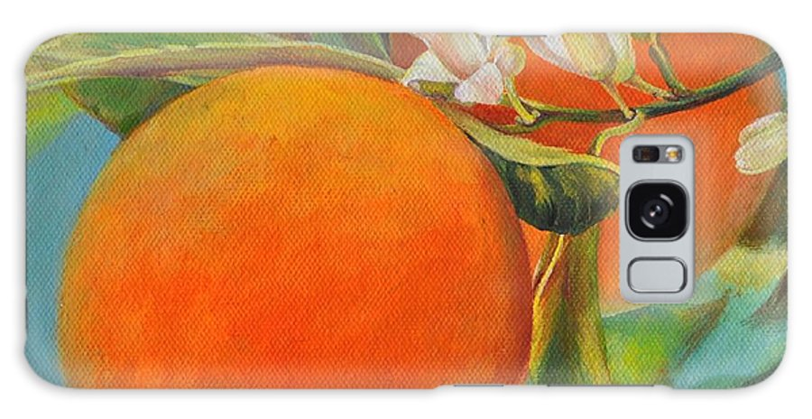 Acrylic Painting Galaxy Case featuring the painting Jumelles Orange by Muriel Dolemieux