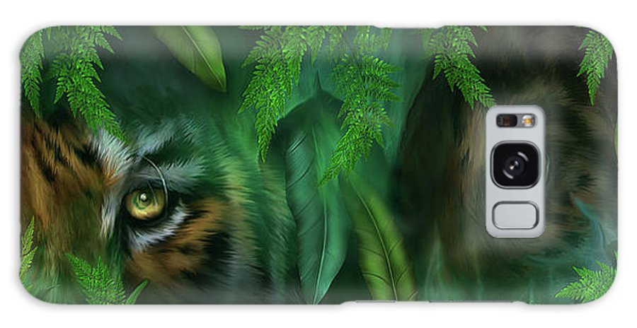Big Cat Art Galaxy S8 Case featuring the mixed media Jungle Eyes - Tiger And Panther by Carol Cavalaris