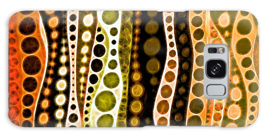 Abstract Jungle Tales Lines Circles Orange Brown White Green Galaxy Case featuring the mixed media Jungle Tales by Susan Epps Oliver