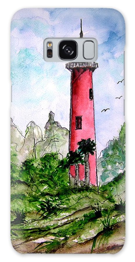 Lighthouse Galaxy S8 Case featuring the painting Jupiter Florida Lighthouse by Derek Mccrea