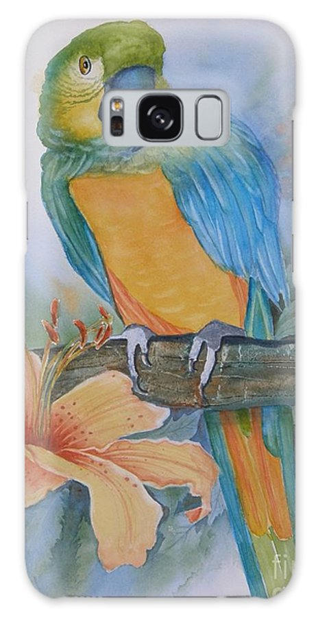 #parrot Galaxy Case featuring the painting Just Peachy by Midge Pippel