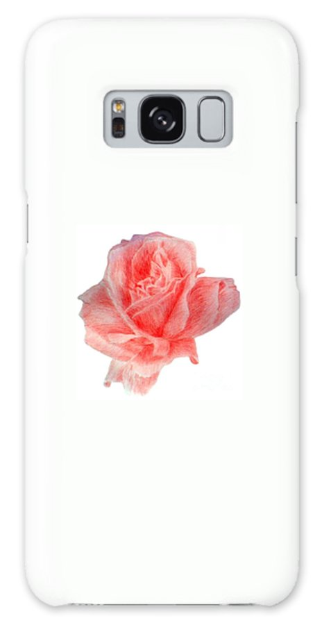 Drawing Flower Rose Colored Pensils Paper Galaxy S8 Case featuring the drawing Just Rose by Nadi Sabirova