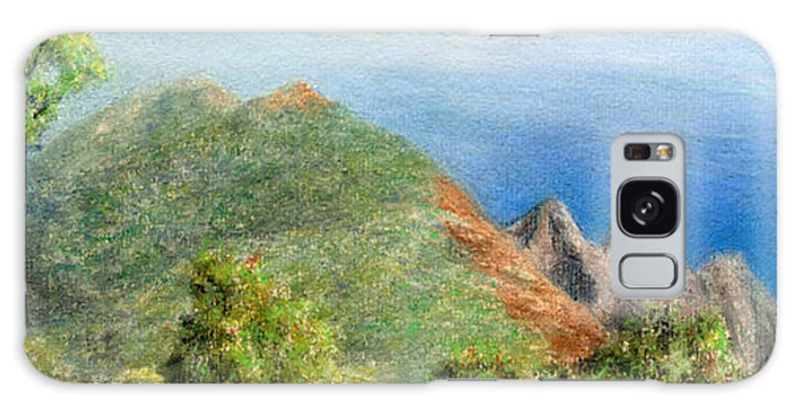 Rainbow Colors Pastel Galaxy Case featuring the painting Kalalau View by Kenneth Grzesik