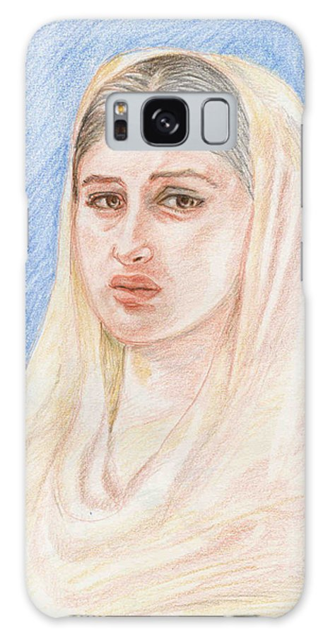 Pencil Sketch Galaxy S8 Case featuring the painting Kareena by Asha Sudhaker Shenoy