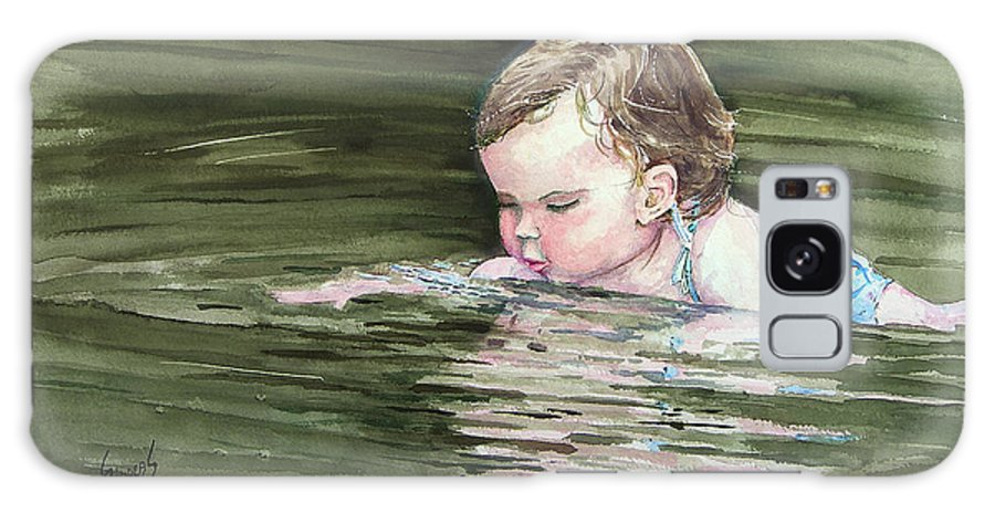 Child In River Galaxy S8 Case featuring the painting Katie Wants A River Rock by Sam Sidders