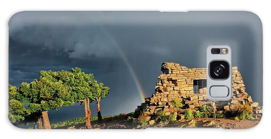 Nature Galaxy Case featuring the photograph Kawanis Cabin Rainbow, Sandia Crest, New Mexico by Zayne Diamond Photographic