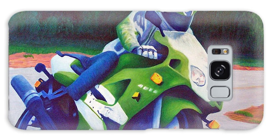 Motorcycle Galaxy Case featuring the painting Kawasaki Zx7 - In The Groove by Brian Commerford