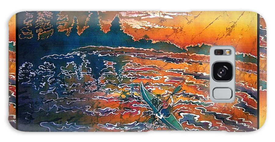 Kayak Galaxy Case featuring the painting Kayaking Serenity - Bordered by Sue Duda