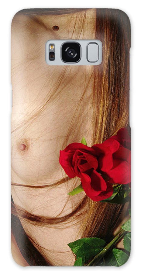 Female Nude Abstract Mirrors Flowers Photographs Galaxy Case featuring the photograph Kazi1174 by Henry Butz