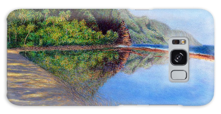 Rainbow Colors Pastel Galaxy Case featuring the painting Ke'e Morning by Kenneth Grzesik