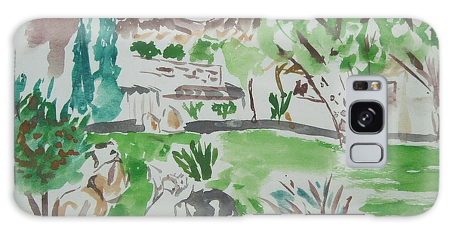 Landscape Galaxy S8 Case featuring the drawing Kibbutz Summer View.water Color 1992 by Dr Loifer Vladimir
