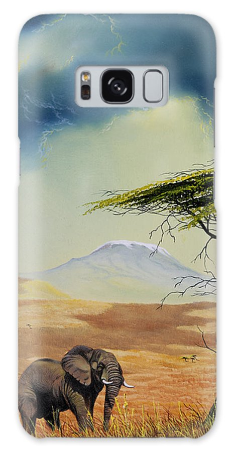 Landscape Galaxy S8 Case featuring the painting Kilimanjaro Bull by Don Griffiths