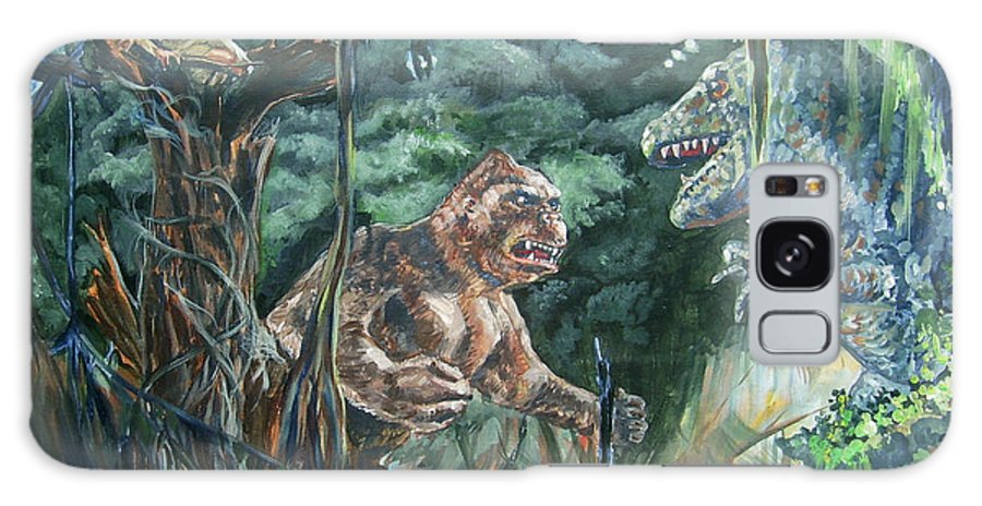 King Kong Galaxy S8 Case featuring the painting King Kong Vs T-rex by Bryan Bustard
