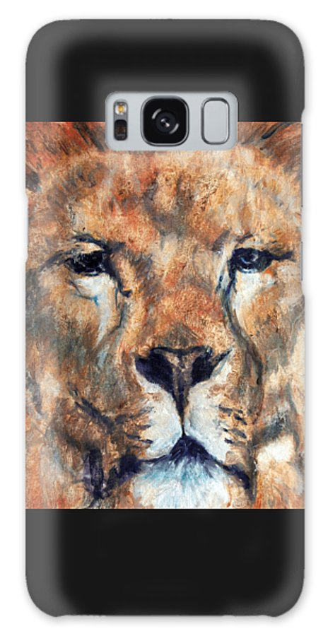 Lion Galaxy S8 Case featuring the painting King Lion by Maureen Murphy