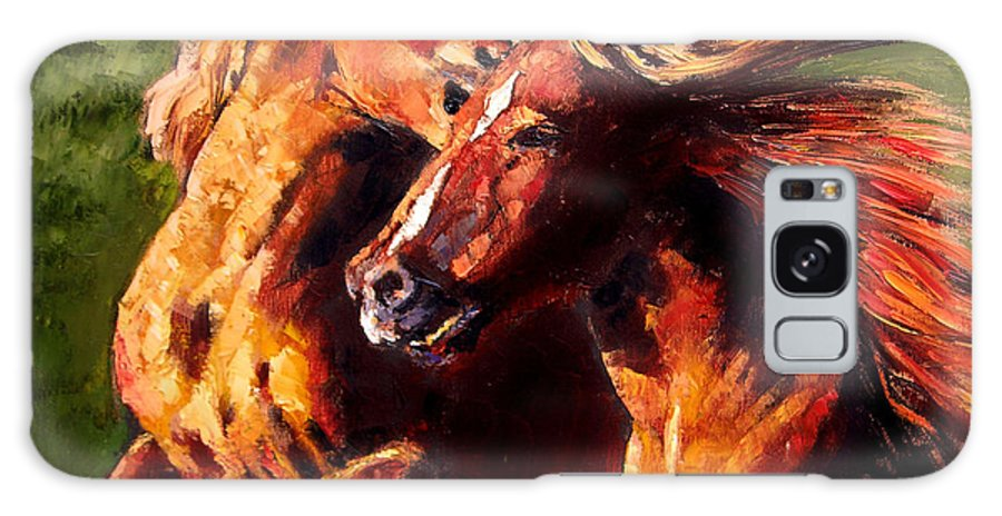 Horses Running Galaxy S8 Case featuring the painting Kiss On The Run by John Lautermilch