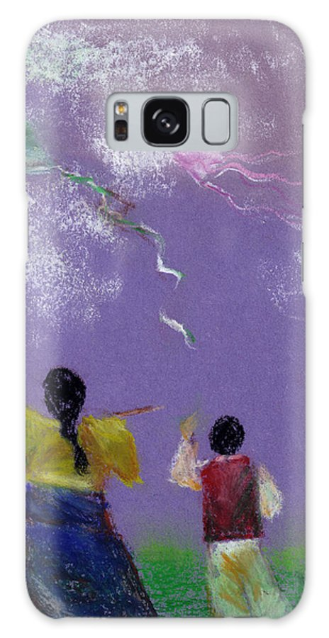 Flying Kite In A Sunny Day-oil Pastel Galaxy Case featuring the drawing Kite Flying by Mui-Joo Wee
