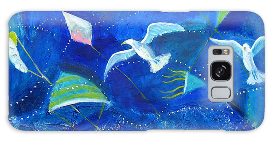 Seagull Galaxy S8 Case featuring the painting Kites And Seagulls Over Pacific by Aliza Souleyeva-Alexander